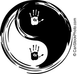 yin yang, heart and hands