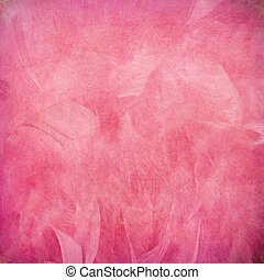Pink feather abstract on paper textured background