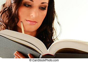 mujer, joven, aislado, libro, blanco, lectura