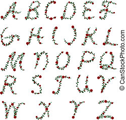 rose alphabet - Alphabet letters formed of vines and rose...