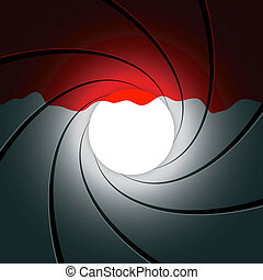 Gun barrel with blood - Vector illustration of a gun barrel...