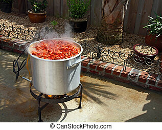 Boiling crawfish outdoor in the backyard