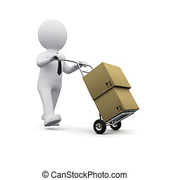 3D man with boxes - picture of 3D man transporting cargo...