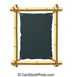Bamboo frame with blank black paper - Vector illustration of...