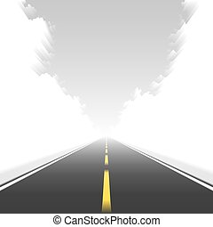 Straight road in motion - Vector illustration of a straight...