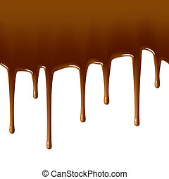 Milk chocolate drips. Seamless. - Vector illustration of...