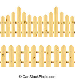 Wooden fences. Seamless ill. - Detailed, seamless vector...