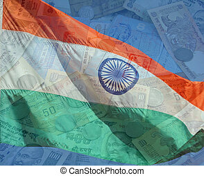 A composite of two photos taken by the author. India flag with money and passports.