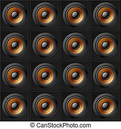 Wall of speakers. Seamless pattern. - Detailed vector...