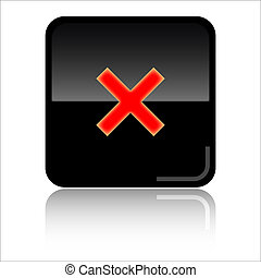 Cancel close web icon - Cancel close - Black and red glossy...
