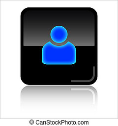 Account web icon - Account - Black and blue glossy web icon