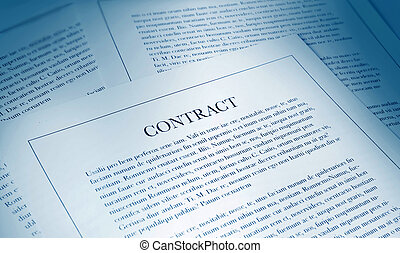 contract paperwork - selection of papers with contract in...