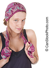 Young woman in headscarf
