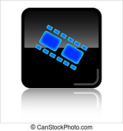 Pictures web icon - Pictures - Black and blue glossy web...