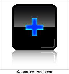 Add web icon - Add - Black and blue glossy web icon