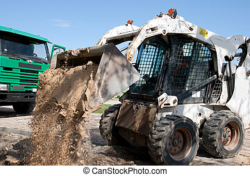 mini, escavador, construção, local