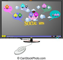 social media on monitor - 3d concept of social media on...