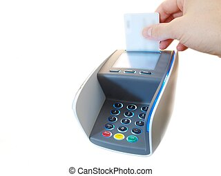 Payment terminal - Someone inserting a chip payment card, on...
