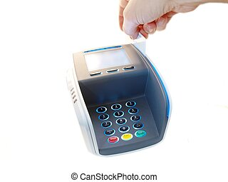Payment terminal - Someone paying with a magnet card, on a...