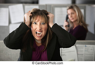 Frustrated Office Worker - Frustrated female office worker...