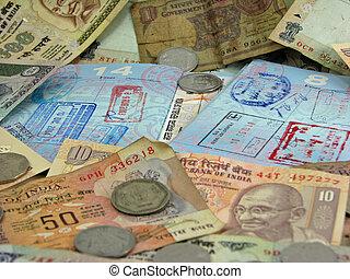 India, valuta, cima, passaporti, visti