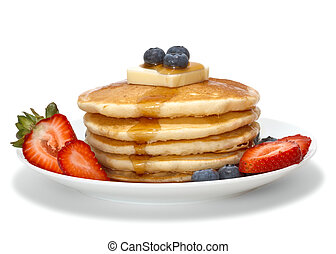 pancakes with fruits, butter and syrup