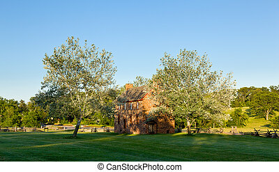 Old Stone House at Manassas Battlefield - Sunset view of the...