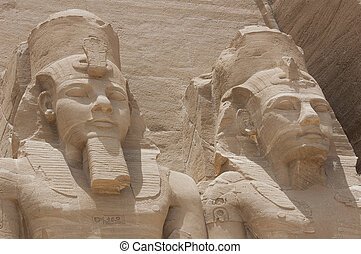 Statue of Ramses II at Abu Simbel - Colossal statue of...