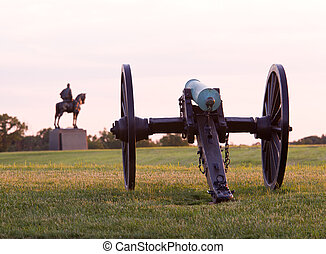 Cannons at Manassas Battlefield - Sunset view of the old...