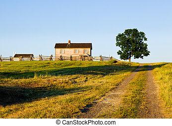Benjamin Chinn House at Manassas Battlefield - Sunset view...