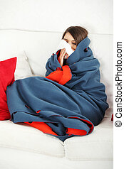 Young woman at home having flu - Young woman at home having...