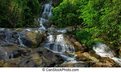Tropical waterfall time lapse