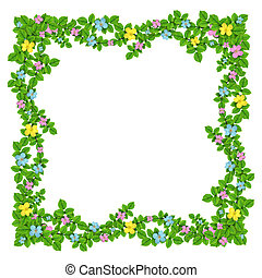 Frame of flowers garland on the white isolated background