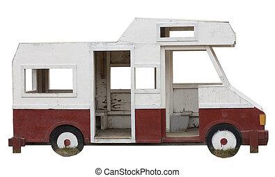 Old worn playground ambulance isolated on white background