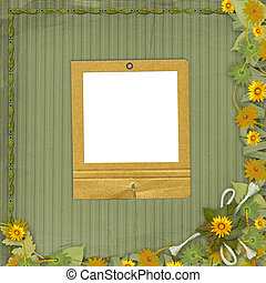 Grunge papers design in scrapbooking style with slide and bunch of flowers