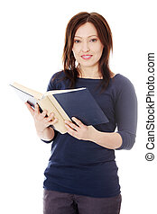 Mature student woman with book