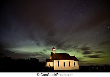 Country Church Night Photography with Northern Lights