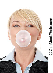 Businesswoman chewing a gum