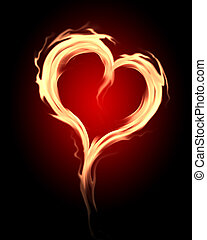 burning hearts - burning heart with flames against dark...
