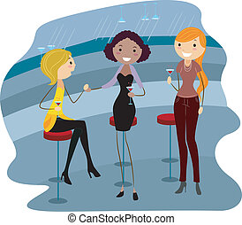 Bar Party - Illustration of Women Relaxing in a Bar
