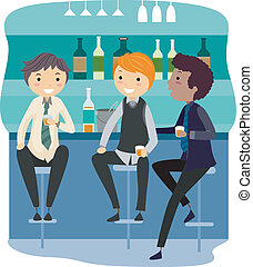 Bar Party - Illustration of Guys Relaxing in a Bar