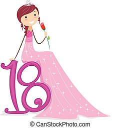 Debut - Illustration of a Girl Leaning Against an 18 Sign