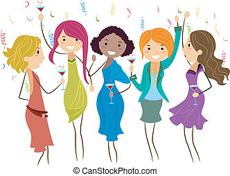 Bachelorette Party - Illustration of Women at a Bachelorette...