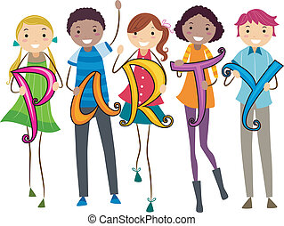 Party Sign - Illustration of Teens Carrying Letters that...