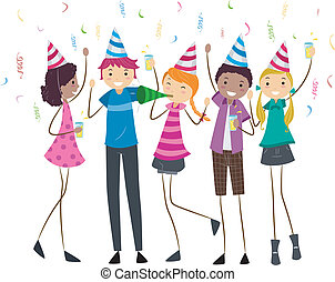 Birthday Party Teens - Illustration of Teens Having a...
