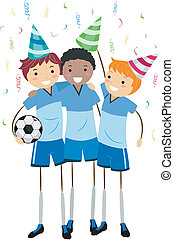 Soccer Party - Illustration of Soccer Players Celebrating...