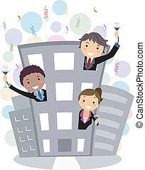 Business Party - Illustration of People Partying in the...