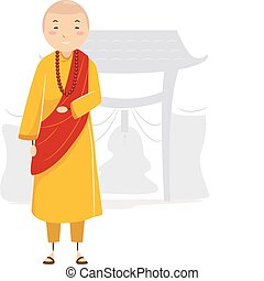 Monk - Illustration of a Monk in a Monastery