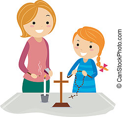 Christian Altar - Illustration of a Mother and Daughter...