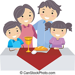 Passover - Illustration of a Family Celebrating Passover